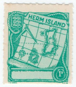 (I.B) Cinderella Collection : Herm Island 1d (Map)