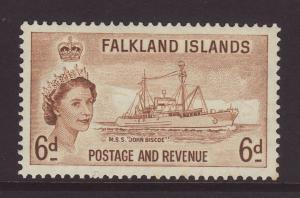 1957 Falkland Is 6d Mint SG190