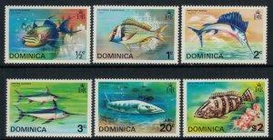 Dominica #421-6a* NH  CV $8.65  Fish complete set & Souvenir sheet
