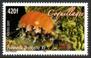 French Polynesia 855, MNH. Orange-banded Cowrie shell, 2003