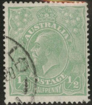 Australia Scott 19 used half p emerald KGV 1915 stamp