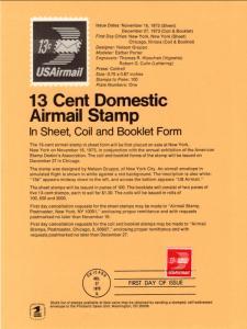 US SP341A Winged Envelope Coil C83 Souvenir Page FDC