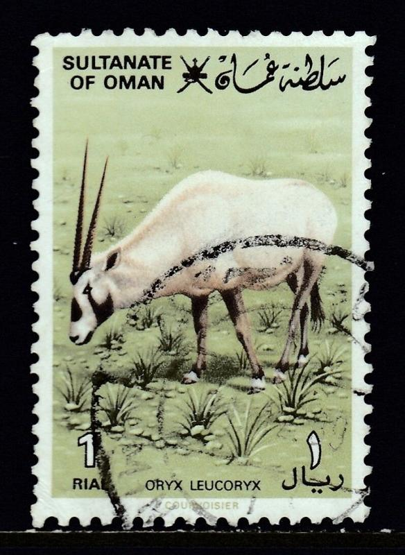 OMAN — SCOTT 236 — 1982 1r ARABIAN ORYX — USED — SCV $15.50