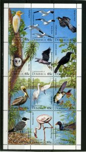 DOMINICA 1995 BIRDS SHEET OF 12 STAMPS MNH