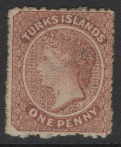 TURKS ISLANDS SG4ba 1873 1d DULL ROSE-LAKE THROAT FLAW MTD MINT PART OG