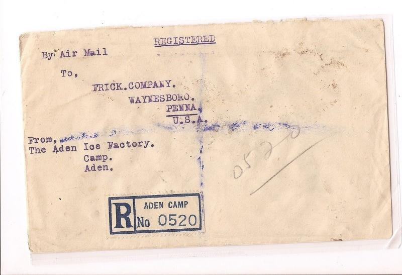 Aden 1945 Air Registered cover from Aden Camp to USA (bao)
