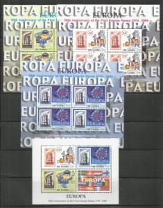 GAMBIA  2970-2972 , 2972A  MNH, SET OF 4 SS,  50TH ANNIV. OF THE 1ST EUROPA STMP