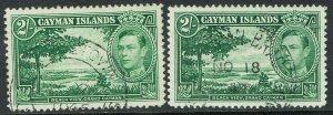 CAYMAN ISLANDS 1938 KGVI BEACH VIEW 2/- BOTH SHADES USED