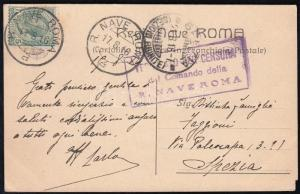 Italy stamp Regia Nave Roma postmark on censored postcard 1916 Cover WS231020