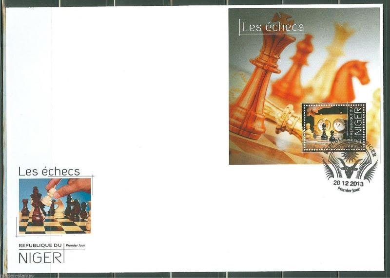 NIGER  2013  CHESS PIECES  SOUVENIR SHEET  FIRST DAY COVER