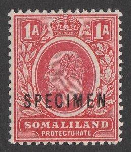 SOMALILAND : 1909 KEVII ½a red, SPECIMEN.