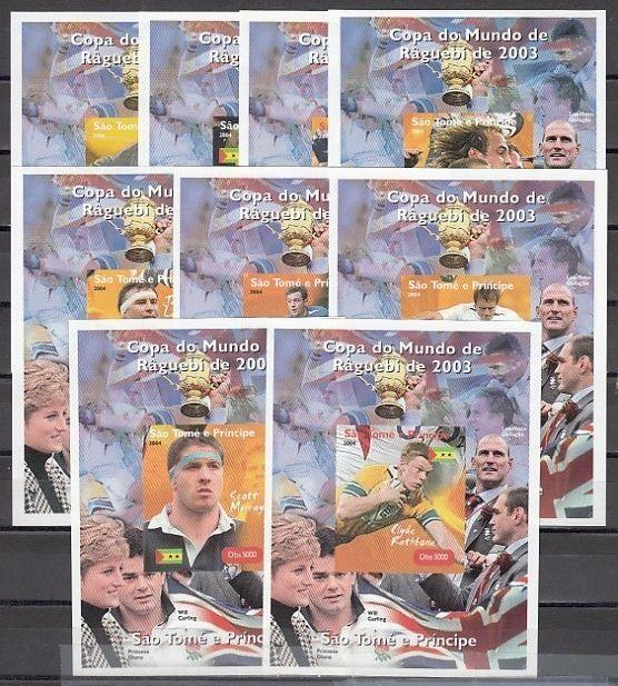 St. Thomas, 2004 issue. Rugby, Sports on 9 s/sheets.