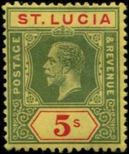 St Lucia SC# 72 KGV 5 shillings Die I  MH SCV $26.50 with mount