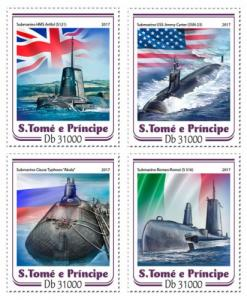 SAO TOME - 2017 - Submarines - Perf 4v Sheet -MNH