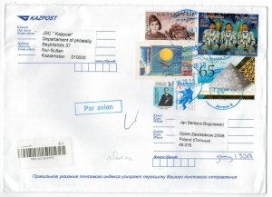 Kazakhstan 2020 Registered Cover to Poland Stamps Space Astronauts War Tank WWII