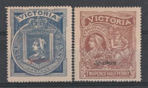 VICTORIA : 1897 QV Hospital Charity set 1d & 2½d, Specimen.