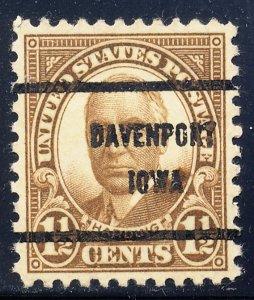 Davenport IA, 684-61 Bureau Precancel, 1½¢ FF Harding