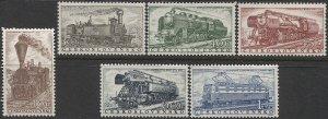 CZECHOSLOVAKIA 1956 Sc 770-775 Set of 6, MNH VF Locomotives / Trains