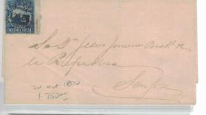 Costa Rica 1/dR blue on Cover 20 Oct 1870 Cancel to USA (1bep)