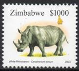 Zimbabwe - 2003 $1000 Rhino MNH** SG 1021c