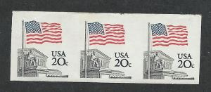 1895e MNH, XF, 20c. Flag, Imperf. Strip of 3, scv: $725+