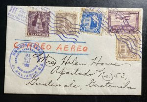 1934 El Salvador American Legion Airmail Cover to Guatemala III Sport Games Canc
