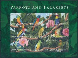 [108895] Carriacou Petite Martinique 2000 Birds Parrots Parakeet Mini sheet MNH