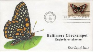 AO-1713,1977, Checkerspot Butterfly, Add-on Cachet, FDC, SC 1713,