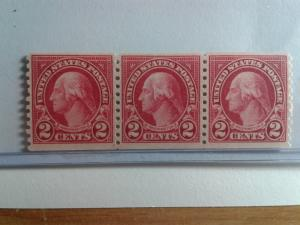 SCOTT # 599 MINT NEVER HINGED PERFERATED 10 VERTICAL COIL OF 3 STAMPS !!!!