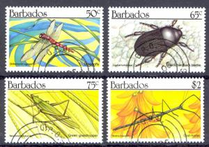 Barbados Sc# 784-787 Used 1990 Insects