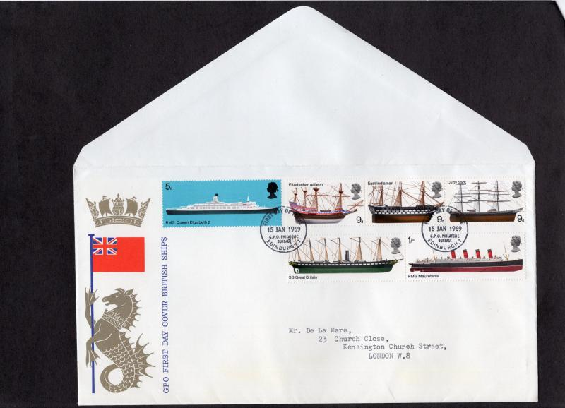 Great Britain  #575-580  1969  ships  FDC  Edinburgh Philatelic bureau