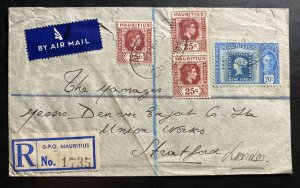 1949 Mauritius Bank Of India Airmail Commercial Cover To London England