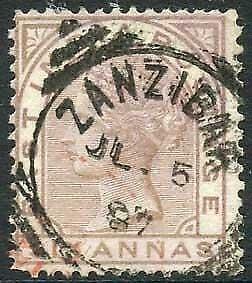 Zanzibar SGZ60 6a Pale Brown Z5 Squared Circle dated 5th July 1887 (Discoloured)