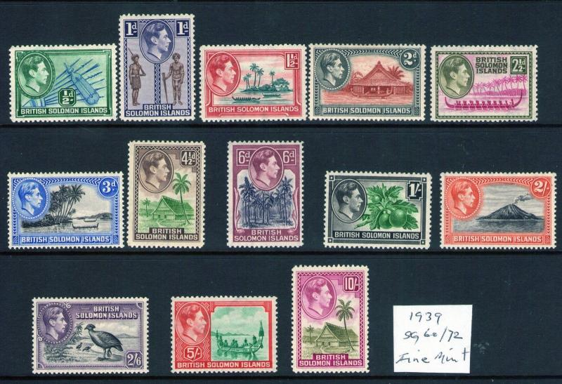 BRITISH SOLOMON ISLANDS 1939 Multiples, Multi-coloured SG60/72 fine mint