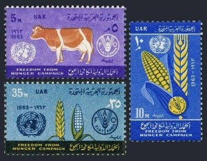 Egypt 582-584,MNH.Michel UAR 168-170.FAO Freedom from Hunger campaign,1963.Cow,