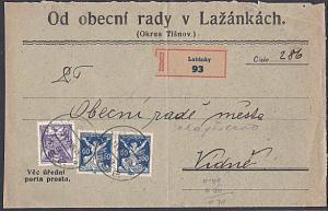 CZECHOSLOVAKIA 1921 cover registered ex LAZANKY............................53835
