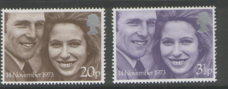 Great Britain 1973 Royal Wedding Set of (2) Scott #707/708