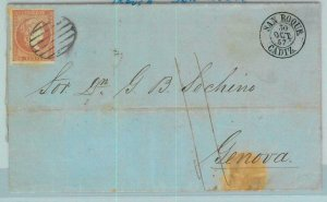 BK0271 - SPAIN - POSTAL HISTORY - COVER from GIBRALTAR thorugh SAN ROQUE 1857
