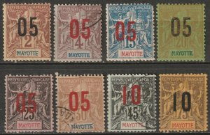 Mayotte 1912 Sc 22/31 partial set MH*/MNG(*)/used