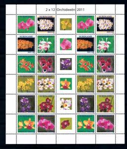 [SUV1812] Surinam Suriname 2011 Flora Flowers Orchids Sheet with tab MNH