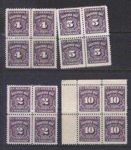 CANADA J16,17,18,20 1935-48 POSTAGE DUE STAMPS ALL IN BLOCKS OF 4 MNH