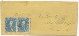 CSA Scott #4 Pair Tied to Cover by Laurens CH, SC CDS Railroad Address