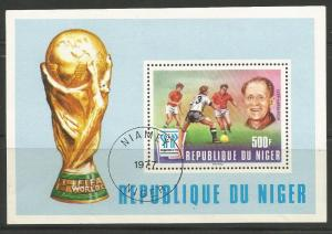 NIGER 417, USED SOUVENIR SHEET, 1977 WORD CUP SOCCER