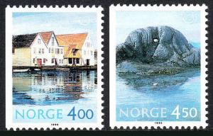 Norway 1092-1093, Booklet Stamps, MNH. Tourism. Harbor, Mountain, 1995