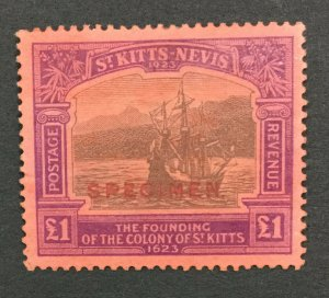 MOMEN: ST KITTS NEVIS SG #60s 1923 SPECIMEN MINT OG H LOT #191796-718