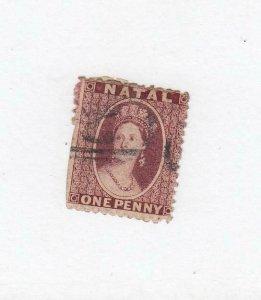 NATAL (MK6582) # 15  F-USED  1p 1864 QUEEN VICTORIA / CARMINE RED CAT VALUE $50