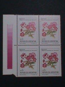 ARGENTINA STAMP-1982 SC#1353 TECOMA STANS FLOWER MNH BLOCK OF 4-EST.-$4 VF