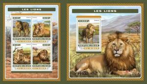 Niger 2016 lions wild cats animals klb+s/s MNH