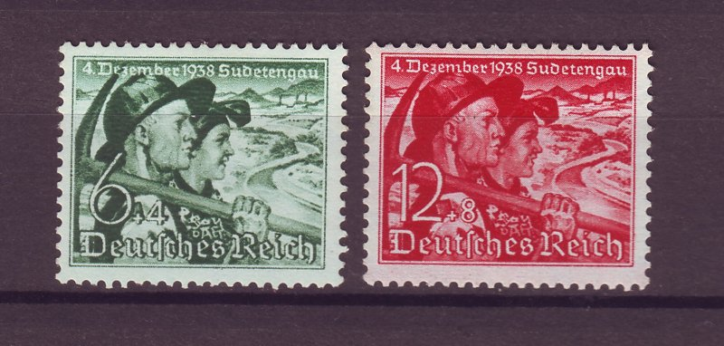 J25383 JLstamps 1938 nazi germany set mh #b132-3 people