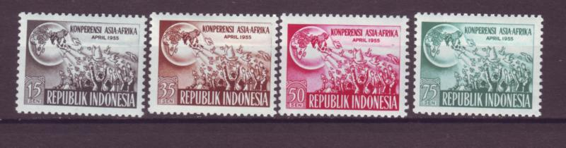 J21024 Jlstamps 1955 indonesia  set mh #402-5 people